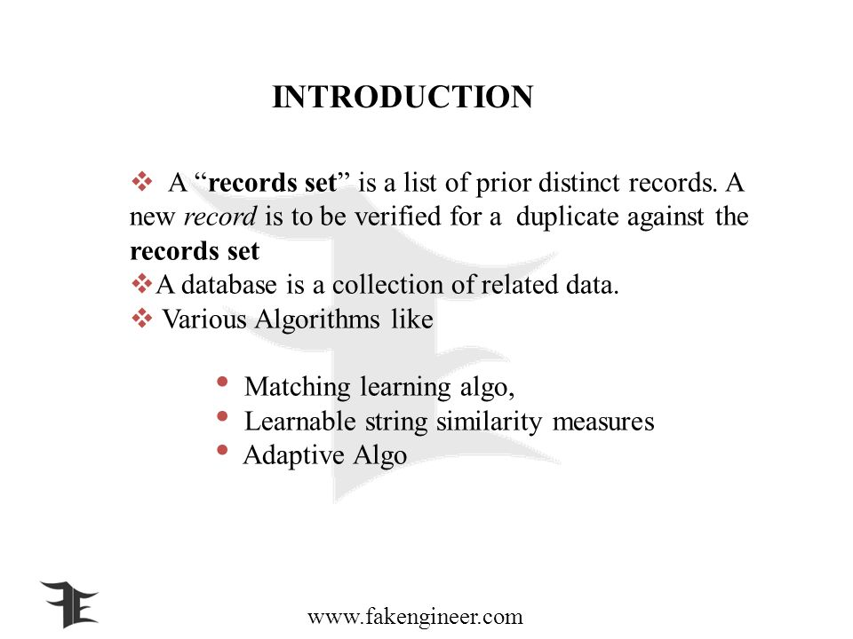 www.fakengineer.com INTRODUCTION A records set is a list of prior distinct records.