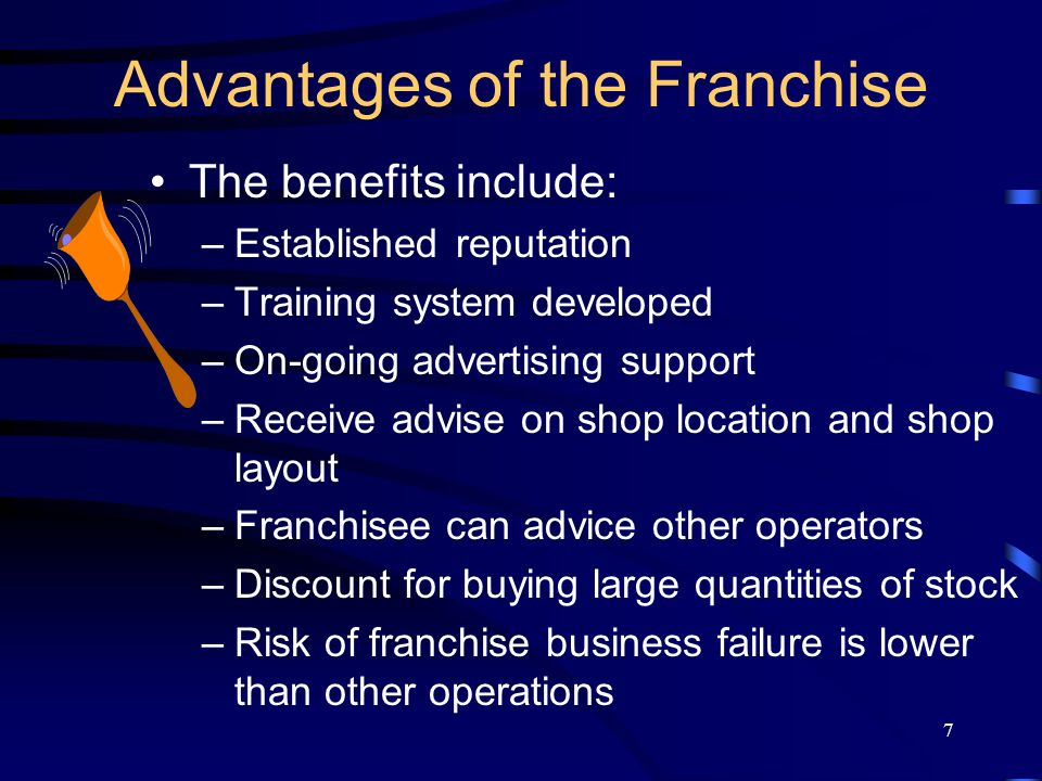 7 Advantages of the Franchise The benefits include: –Established reputation –Training system developed –On-going advertising support –Receive advise on shop location and shop layout –Franchisee can advice other operators –Discount for buying large quantities of stock –Risk of franchise business failure is lower than other operations
