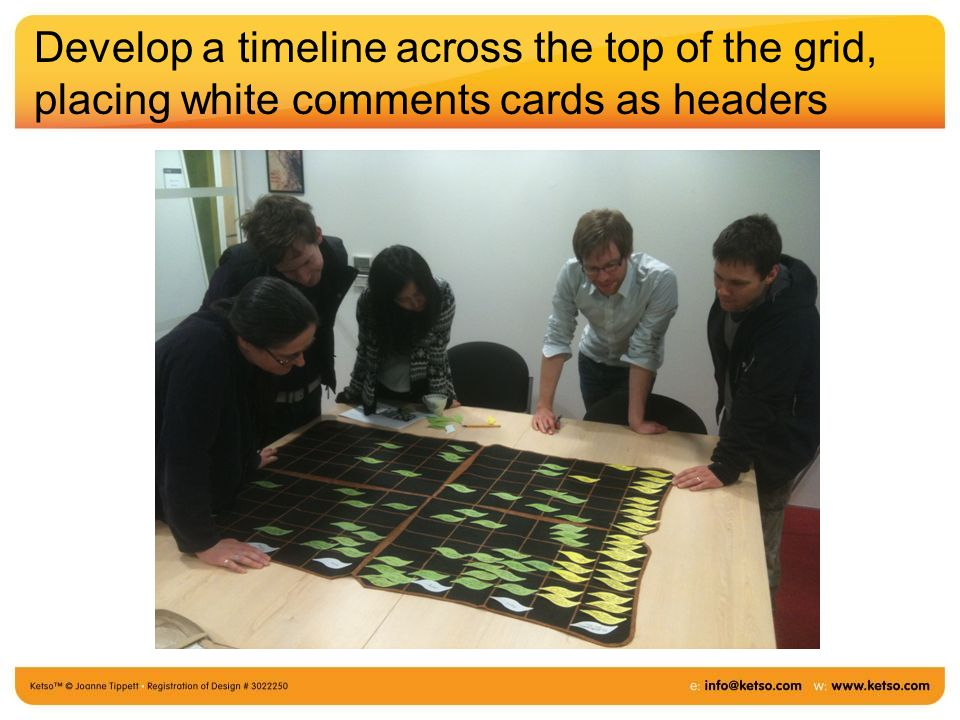 Develop a timeline across the top of the grid, placing white comments cards as headers