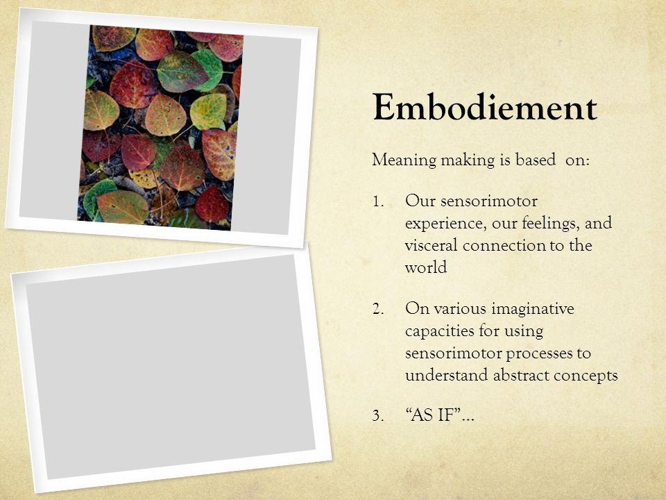 Embodiement Meaning making is based on: 1.