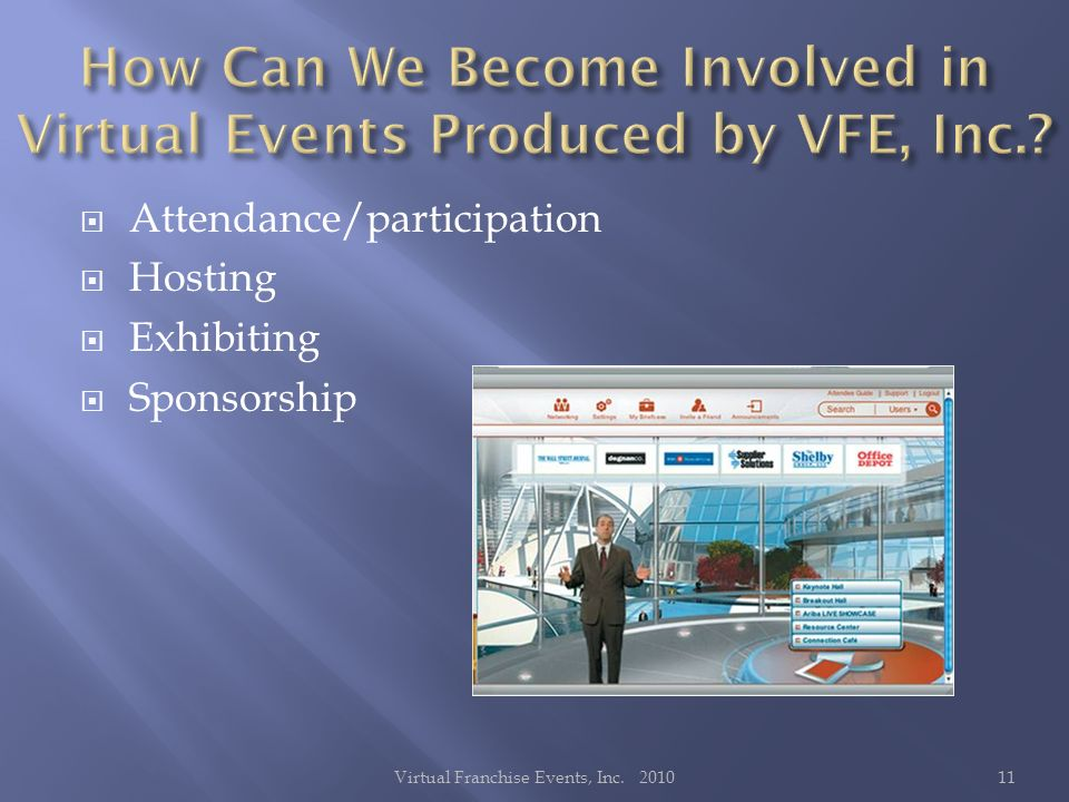 Attendance/participation Hosting Exhibiting Sponsorship 11Virtual Franchise Events, Inc. 2010