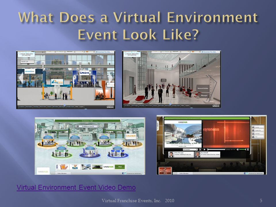 Virtual Environment Event Video Demo 5Virtual Franchise Events, Inc. 2010