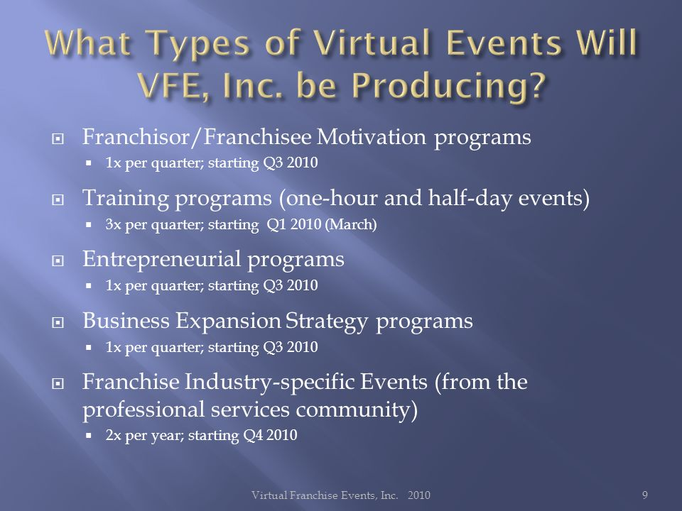 Franchisor/Franchisee Motivation programs 1x per quarter; starting Q Training programs (one-hour and half-day events) 3x per quarter; starting Q (March) Entrepreneurial programs 1x per quarter; starting Q Business Expansion Strategy programs 1x per quarter; starting Q Franchise Industry-specific Events (from the professional services community) 2x per year; starting Q Virtual Franchise Events, Inc.