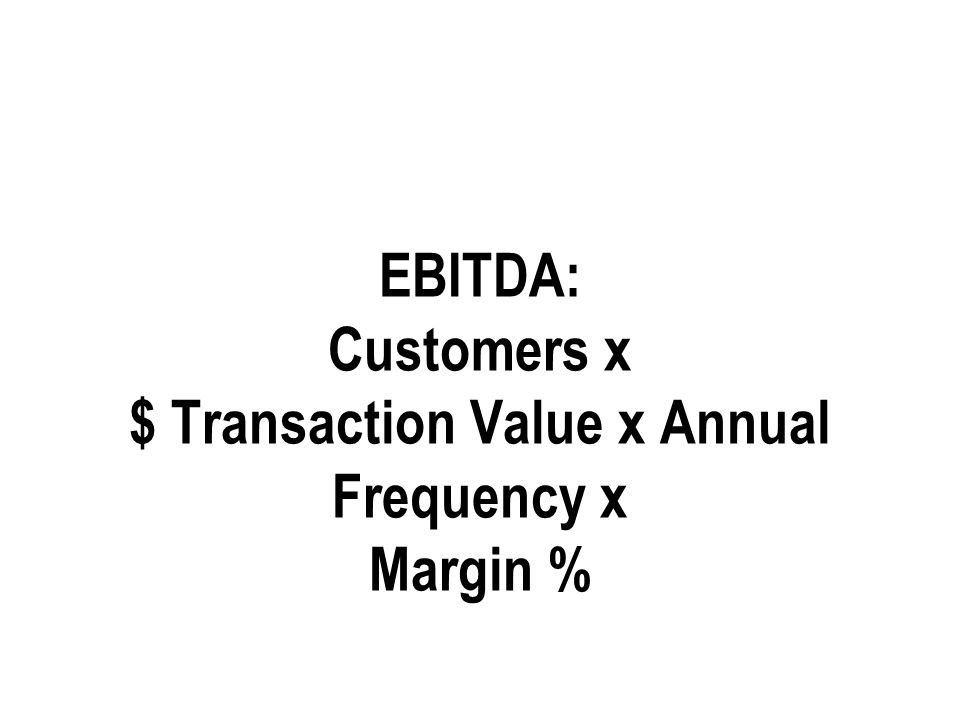 EBITDA: Customers x $ Transaction Value x Annual Frequency x Margin %