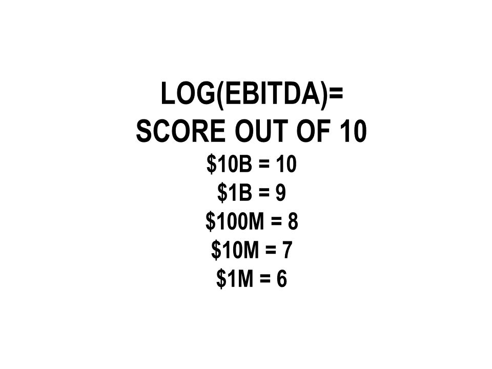 LOG(EBITDA)= SCORE OUT OF 10 $10B = 10 $1B = 9 $100M = 8 $10M = 7 $1M = 6
