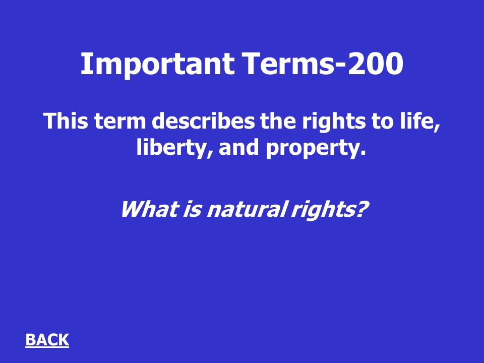 Important Terms-200 This term describes the rights to life, liberty, and property.