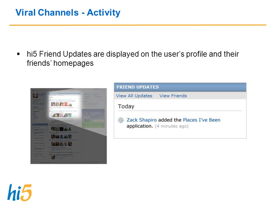 Viral Channels - Activity hi5 Friend Updates are displayed on the users profile and their friends homepages