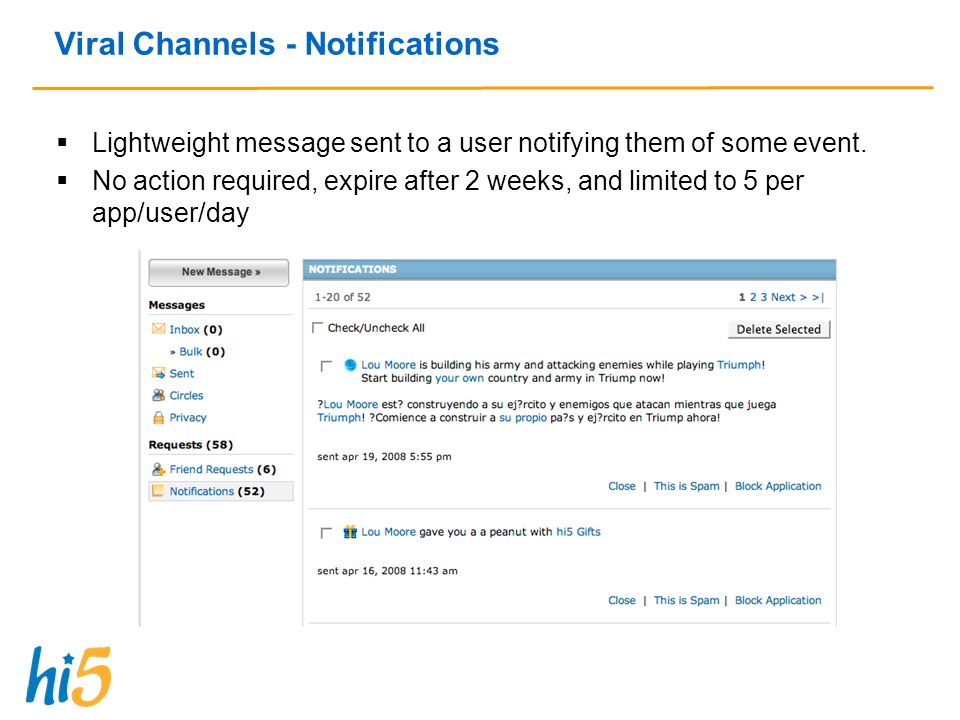 Viral Channels - Notifications Lightweight message sent to a user notifying them of some event.
