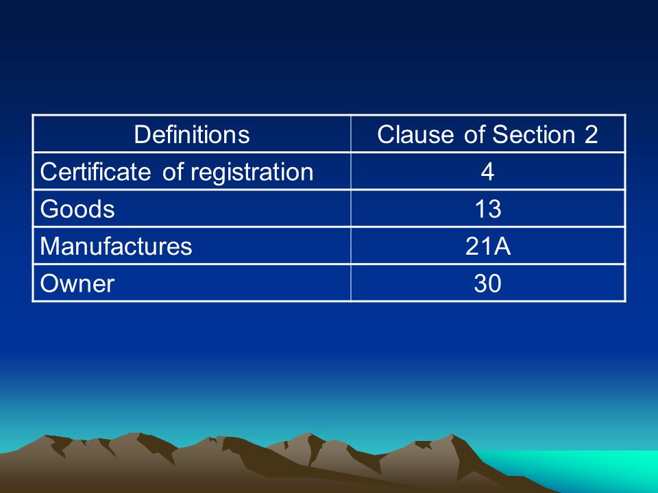 DefinitionsClause of Section 2 Certificate of registration4 Goods13 Manufactures21A Owner30