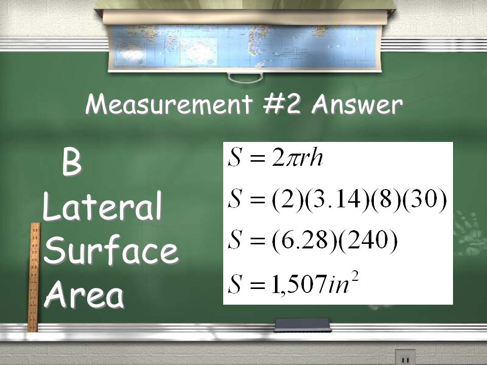 Measurement #2 Question To the nearest square inch, what is the area of pavement with which the surface of the roller will come into contact in one complete rotation.