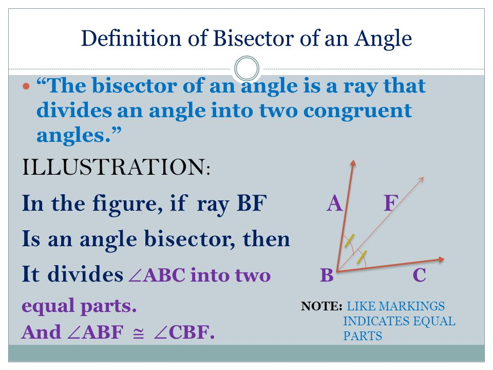 Definition of Bisector of an Angle The bisector of an angle is a ray that divides an angle into two congruent angles.