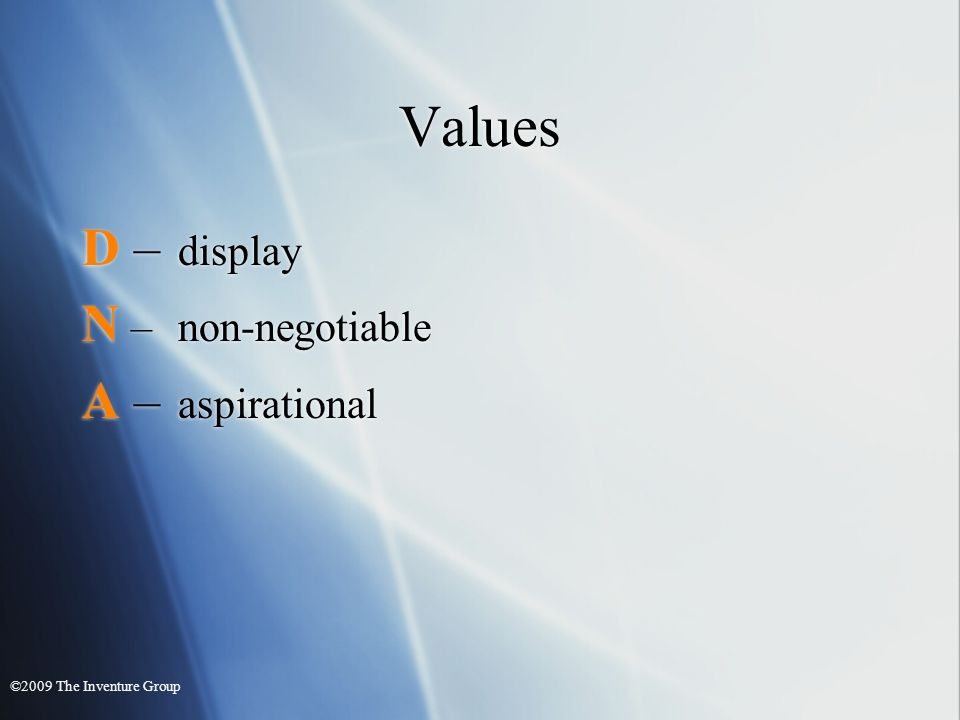 Values D – display N –non-negotiable A – aspirational D – display N –non-negotiable A – aspirational ©2009 The Inventure Group