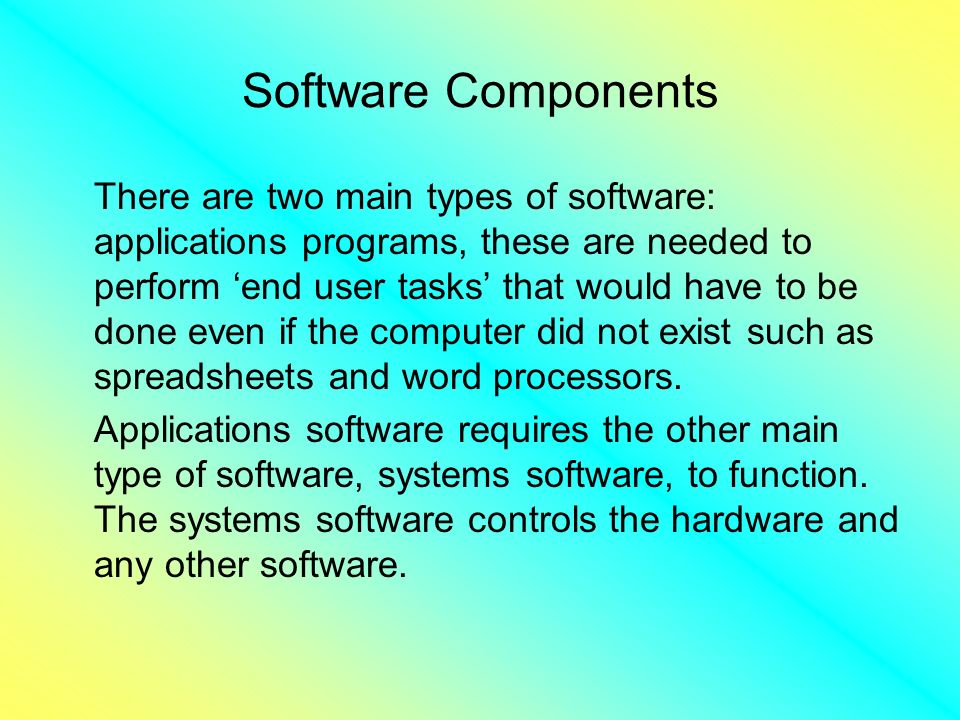 Software Components There are two main types of software: applications programs, these are needed to perform end user tasks that would have to be done even if the computer did not exist such as spreadsheets and word processors.