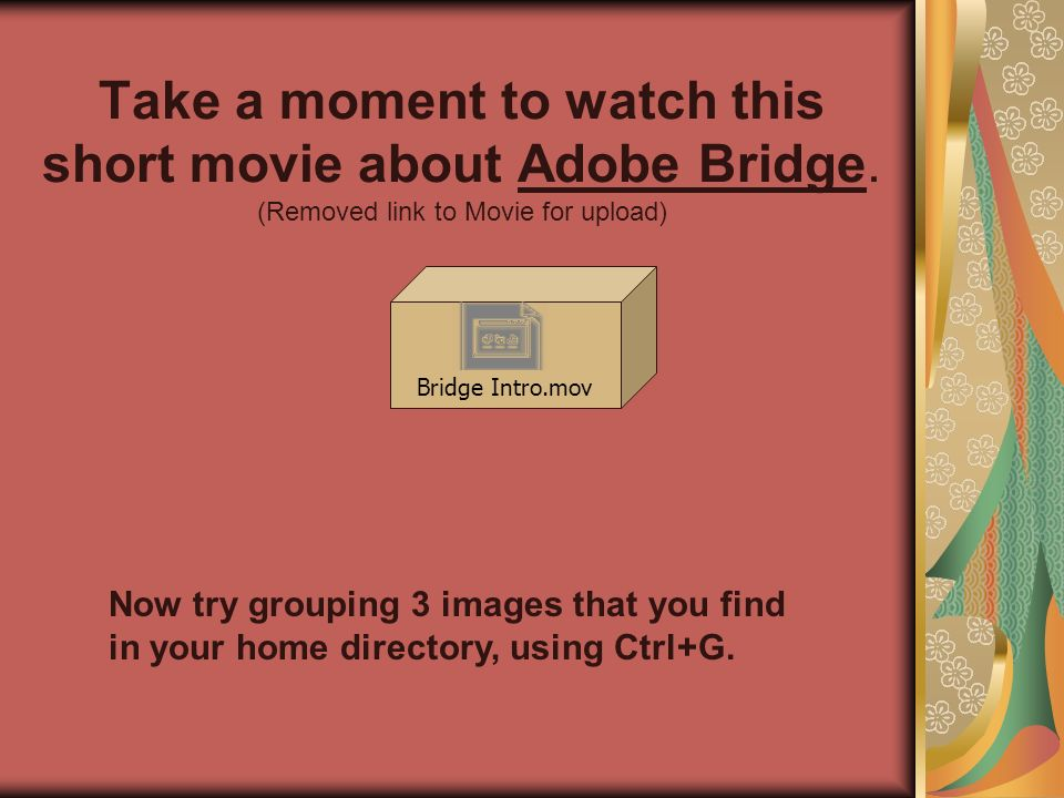 Take a moment to watch this short movie about Adobe Bridge.