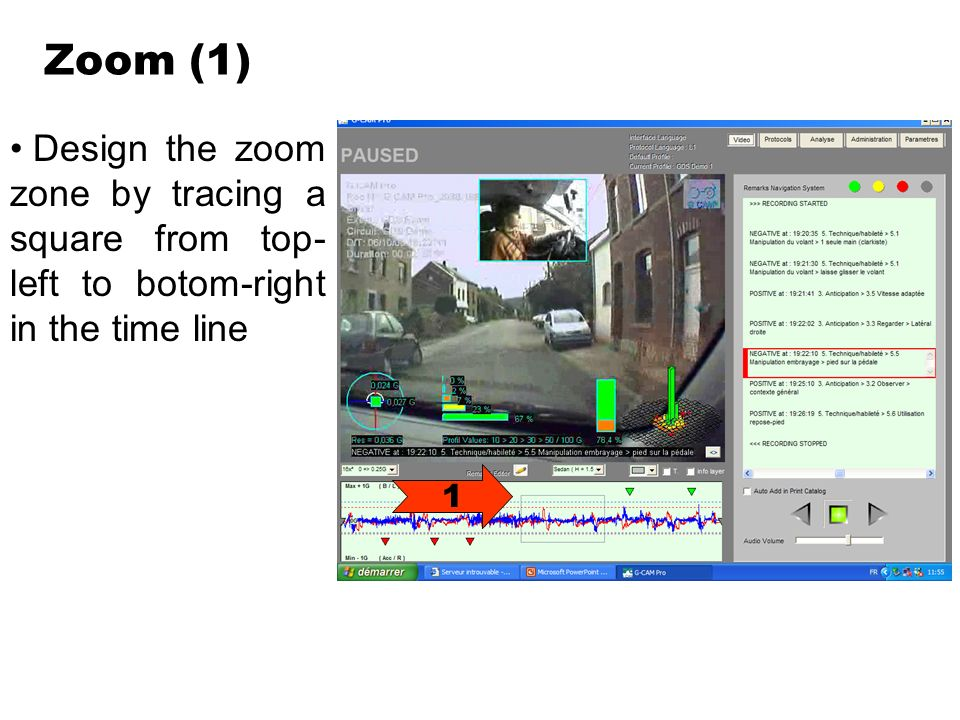 Zoom (1) Design the zoom zone by tracing a square from top- left to botom-right in the time line 1