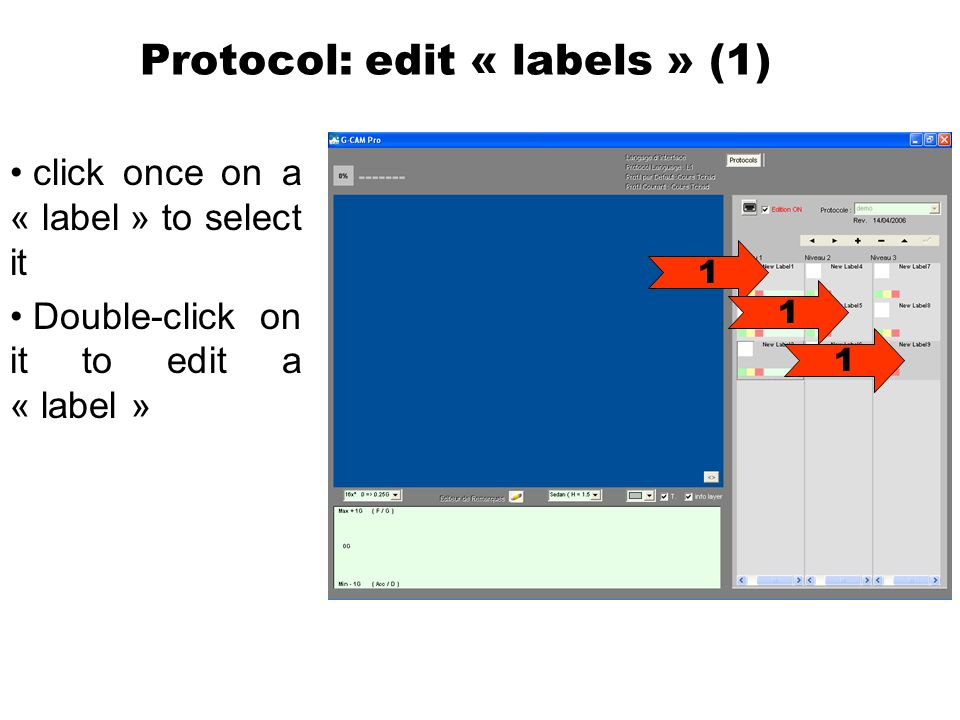 Protocol: edit « labels » (1) click once on a « label » to select it Double-click on it to edit a « label » 1 1 1