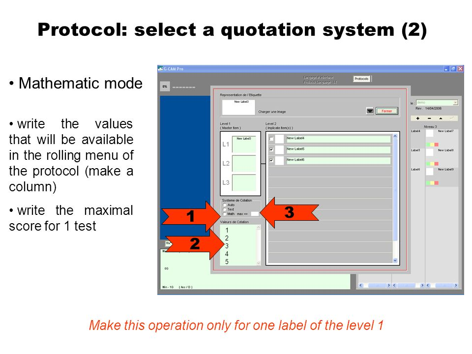 Protocol: select a quotation system (2) Mathematic mode 1 2 write the values that will be available in the rolling menu of the protocol (make a column) write the maximal score for 1 test Make this operation only for one label of the level 1