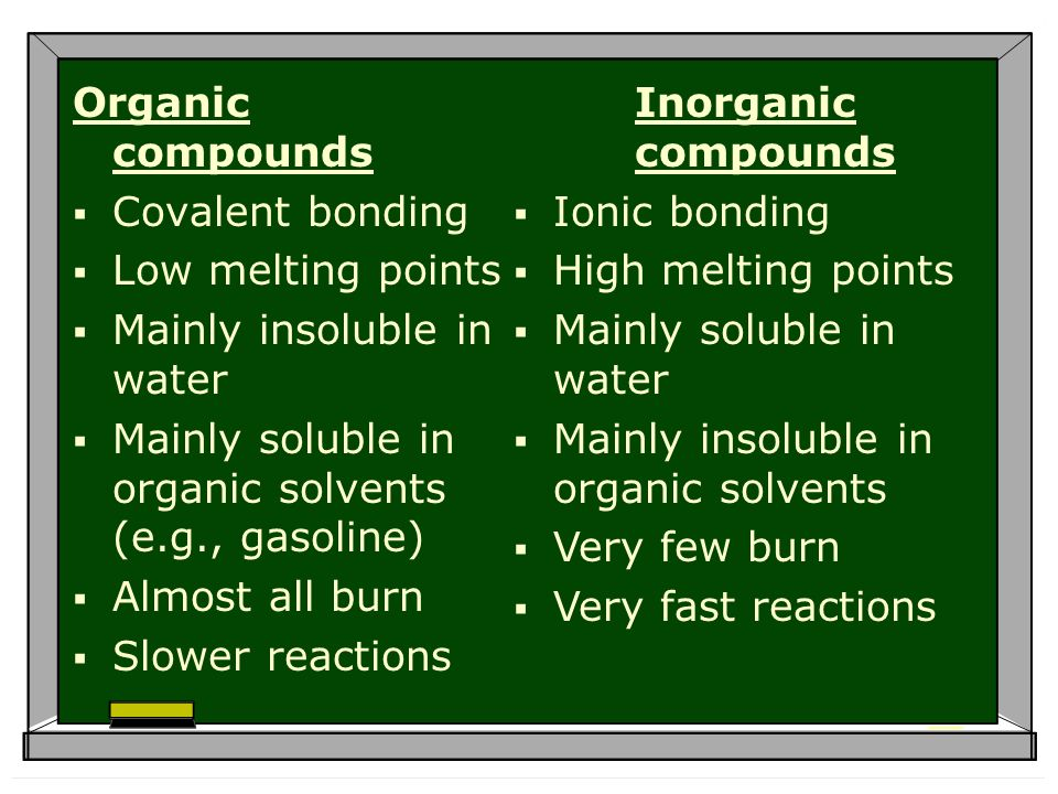 Organic compounds Covalent bonding Low melting points Mainly insoluble in water Mainly soluble in organic solvents (e.g., gasoline) Almost all burn Slower reactions Inorganic compounds Ionic bonding High melting points Mainly soluble in water Mainly insoluble in organic solvents Very few burn Very fast reactions