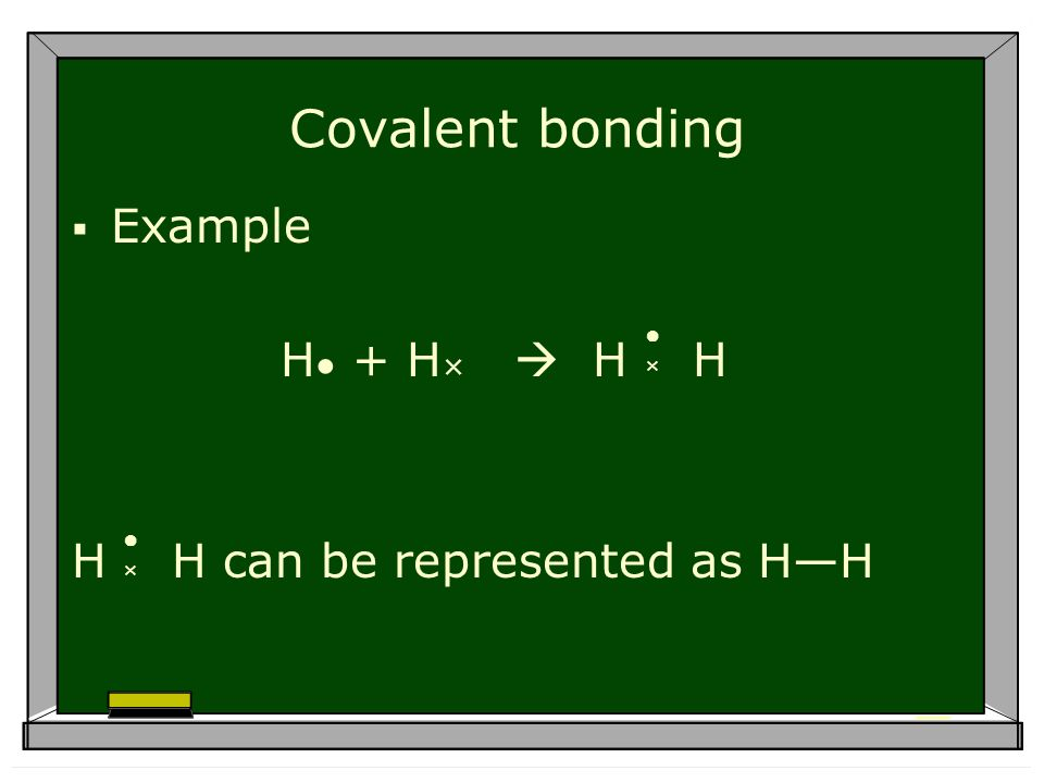 Covalent bonding Example H + H × H H H H can be represented as HH × ×