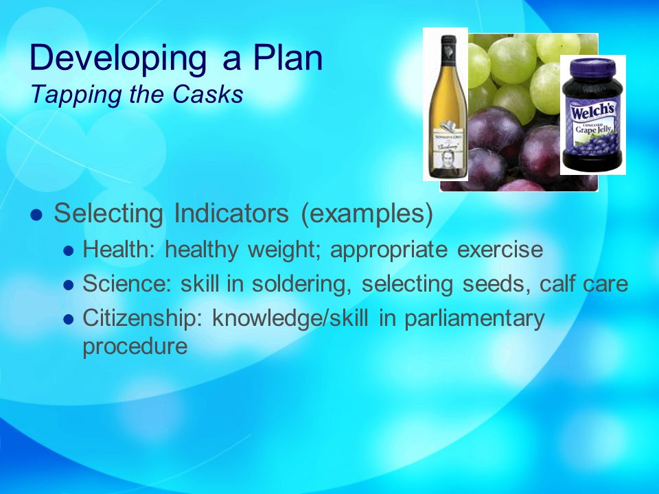 Developing a Plan Tapping the Casks Selecting Indicators (examples) Health: healthy weight; appropriate exercise Science: skill in soldering, selecting seeds, calf care Citizenship: knowledge/skill in parliamentary procedure