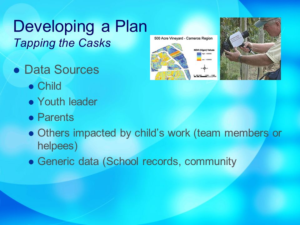 Developing a Plan Tapping the Casks Data Sources Child Youth leader Parents Others impacted by childs work (team members or helpees) Generic data (School records, community