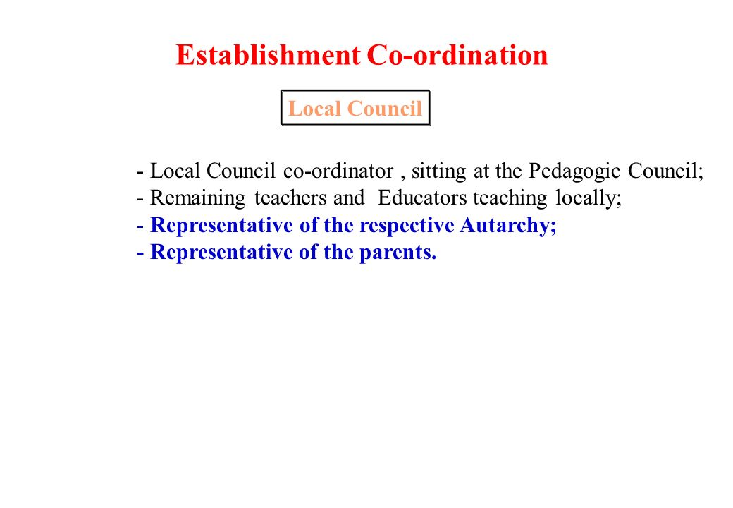 Pedagogic Council Curricular Department Pre-elementary School and 1 st stage Council Teachers responsible for a class Council Local Council Class Councils 1 st and 2 nd Stage Disciplinary Area Council Administrative and Managing Organs Middle Stage