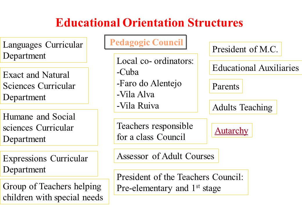 Establishment Co-ordination Local Council - Local Council co-ordinator, sitting at the Pedagogic Council; - Remaining teachers and Educators teaching locally; - Representative of the respective Autarchy; - Representative of the parents.