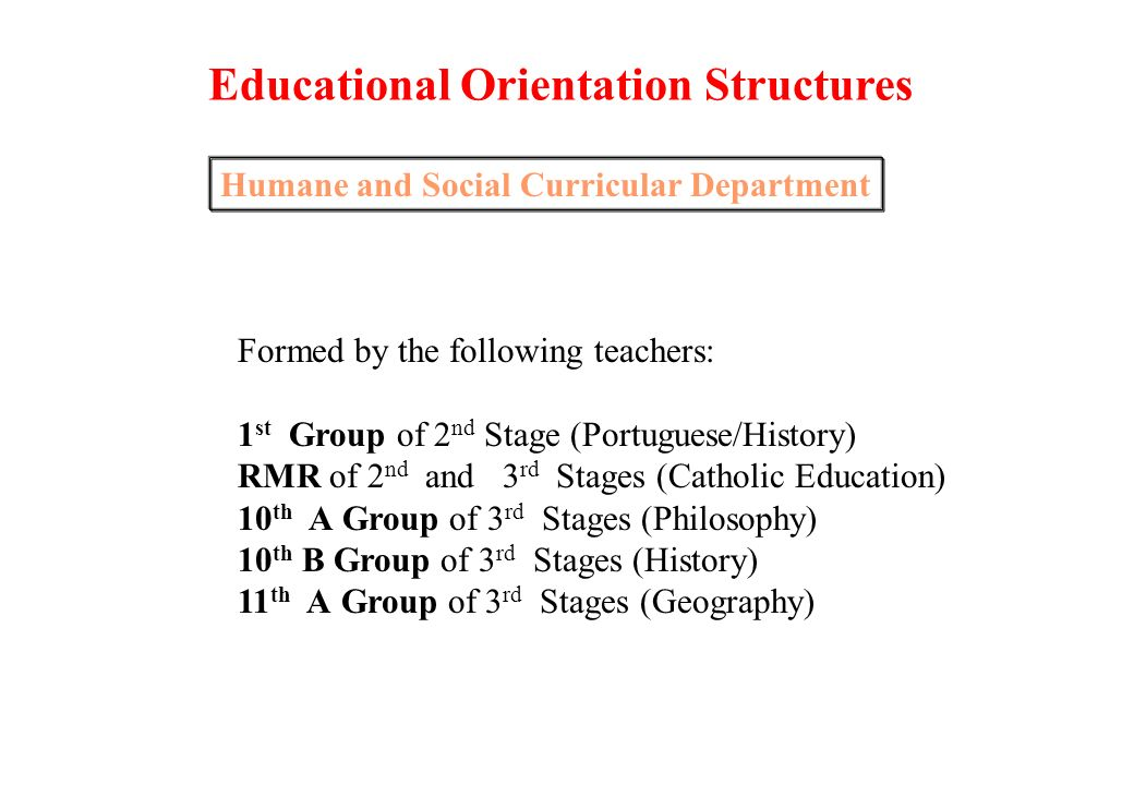 Exact and Natural Curricular Department Formed by the following teachers: 4 th Group of 2 nd Stage (Science/Mathematics) 1 st Group do 3 rd Stage (Mathematics) 4 th A Group of 3 rd Stage (Physic-Chemistry) 7 th Group of 3 rd Stage (Economy) 11 th B Group of 3 rd Stage (Natural Sciences) Educational Orientation Structures