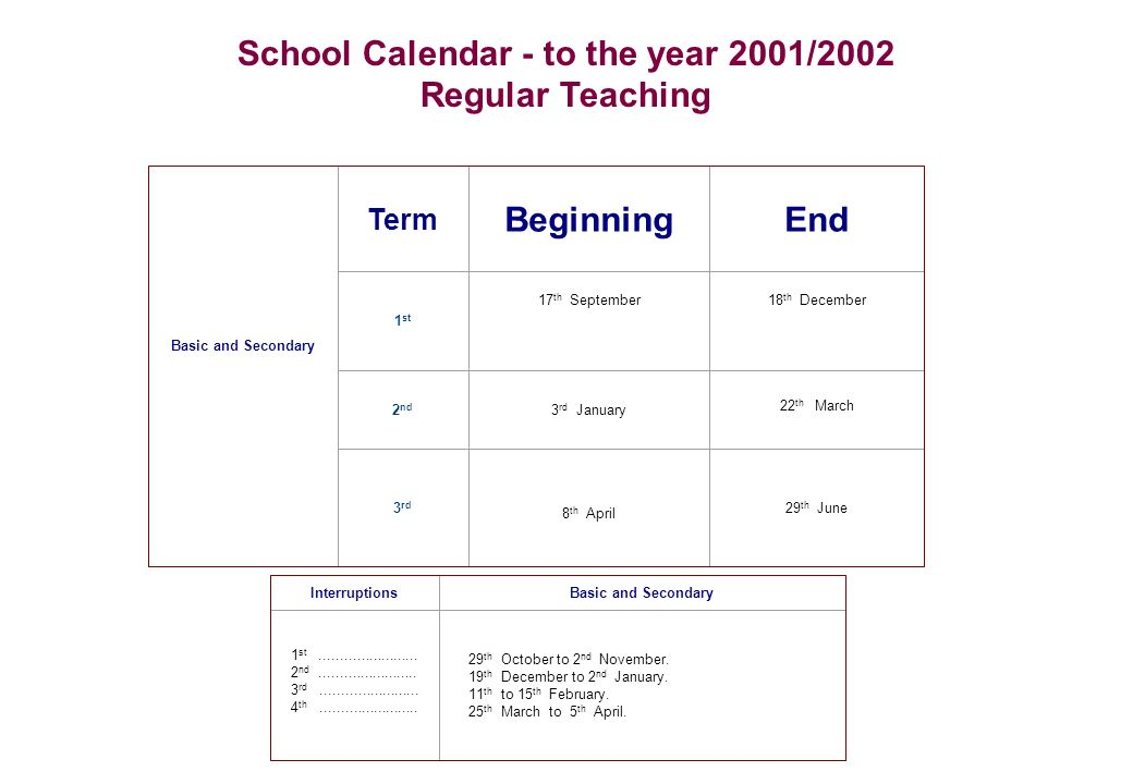 School Calendar - 2001/2002 Group of Schools of Cuba