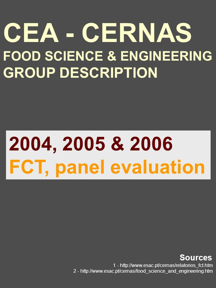 CEA - CERNAS FOOD SCIENCE & ENGINEERING GROUP DESCRIPTION 2004, 2005 & 2006 FCT, panel evaluation Sources 1 - http://www.esac.pt/cernas/relatorios_fct.htm 2 - http://www.esac.pt/cernas/food_science_and_engineering.htm