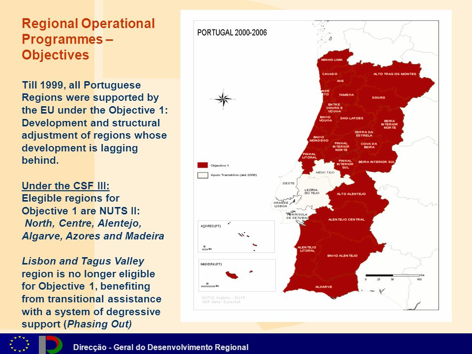 Direcção - Geral do Desenvolvimento Regional Regional Operational Programmes – Objectives Till 1999, all Portuguese Regions were supported by the EU under the Objective 1: Development and structural adjustment of regions whose development is lagging behind.