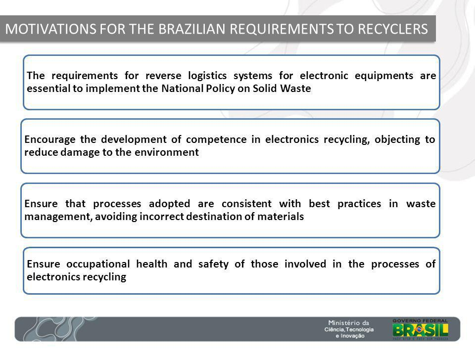 MOTIVATIONS FOR THE BRAZILIAN REQUIREMENTS TO RECYCLERS The requirements for reverse logistics systems for electronic equipments are essential to implement the National Policy on Solid Waste Encourage the development of competence in electronics recycling, objecting to reduce damage to the environment Ensure that processes adopted are consistent with best practices in waste management, avoiding incorrect destination of materials Ensure occupational health and safety of those involved in the processes of electronics recycling