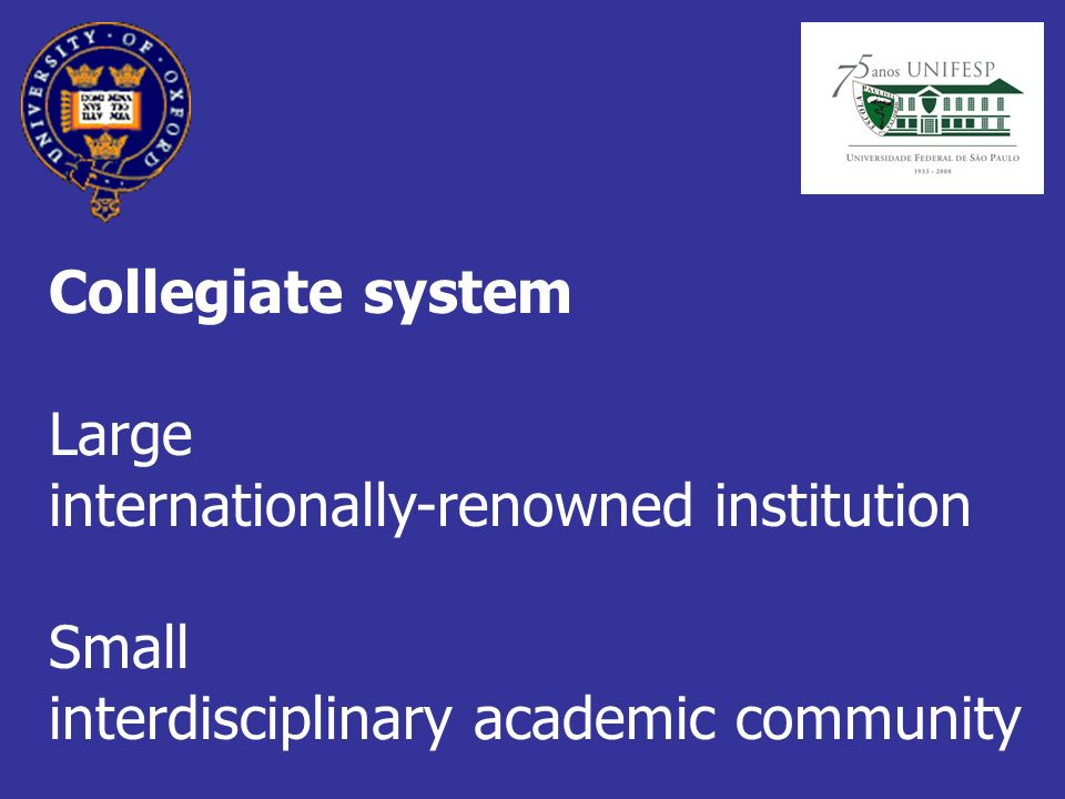 Collegiate system Large internationally-renowned institution Small interdisciplinary academic community