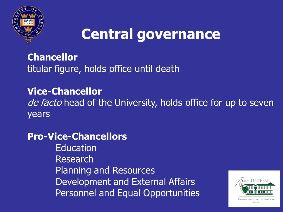 Central governance Chancellor titular figure, holds office until death Vice-Chancellor de facto head of the University, holds office for up to seven years Pro-Vice-Chancellors Education Research Planning and Resources Development and External Affairs Personnel and Equal Opportunities