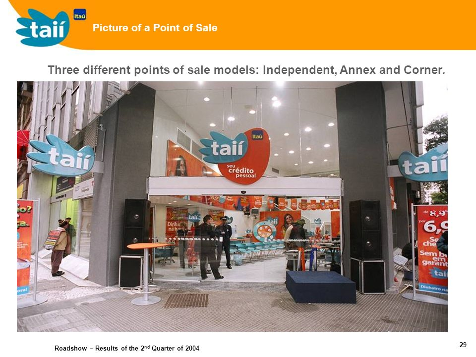 Roadshow – Results of the 2 nd Quarter of 2004 28 New Brand Name (related to Itaú) Focus on low income consumers (not Itaú current account holders) Own platform Highlights