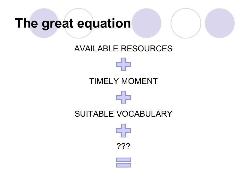 The great equation AVAILABLE RESOURCES TIMELY MOMENT SUITABLE VOCABULARY