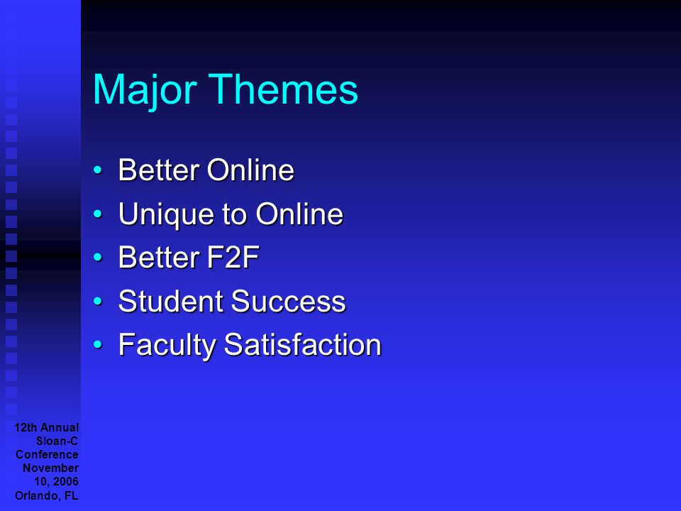 12th Annual Sloan-C Conference November 10, 2006 Orlando, FL Major Themes Better OnlineBetter Online Unique to OnlineUnique to Online Better F2FBetter F2F Student SuccessStudent Success Faculty SatisfactionFaculty Satisfaction