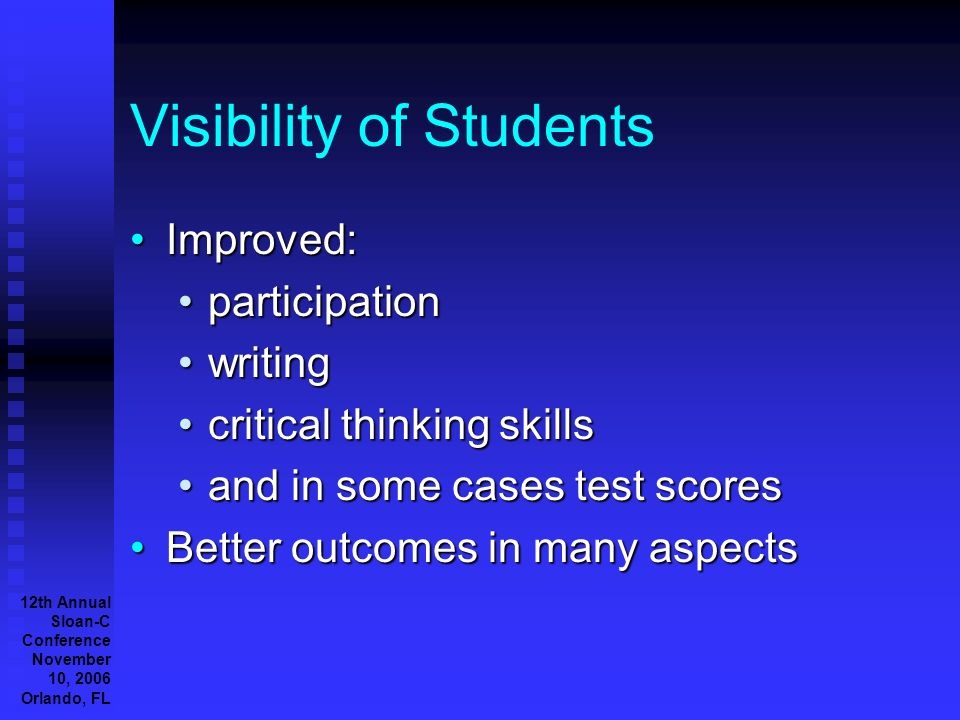 12th Annual Sloan-C Conference November 10, 2006 Orlando, FL Visibility of Students Improved:Improved: participationparticipation writingwriting critical thinking skillscritical thinking skills and in some cases test scoresand in some cases test scores Better outcomes in many aspectsBetter outcomes in many aspects