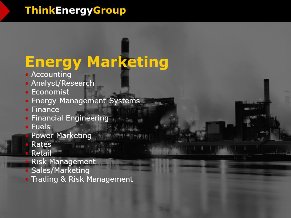 Energy Marketing Accounting Analyst/Research Economist Energy Management Systems Finance Financial Engineering Fuels Power Marketing Rates Retail Risk Management Sales/Marketing Trading & Risk Management ThinkEnergyGroup