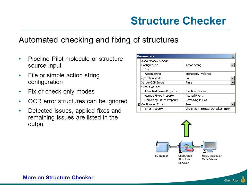 Structure Checker Automated checking and fixing of structures Pipeline Pilot molecule or structure source input File or simple action string configuration Fix or check-only modes OCR error structures can be ignored Detected issues, applied fixes and remaining issues are listed in the output More on Structure Checker