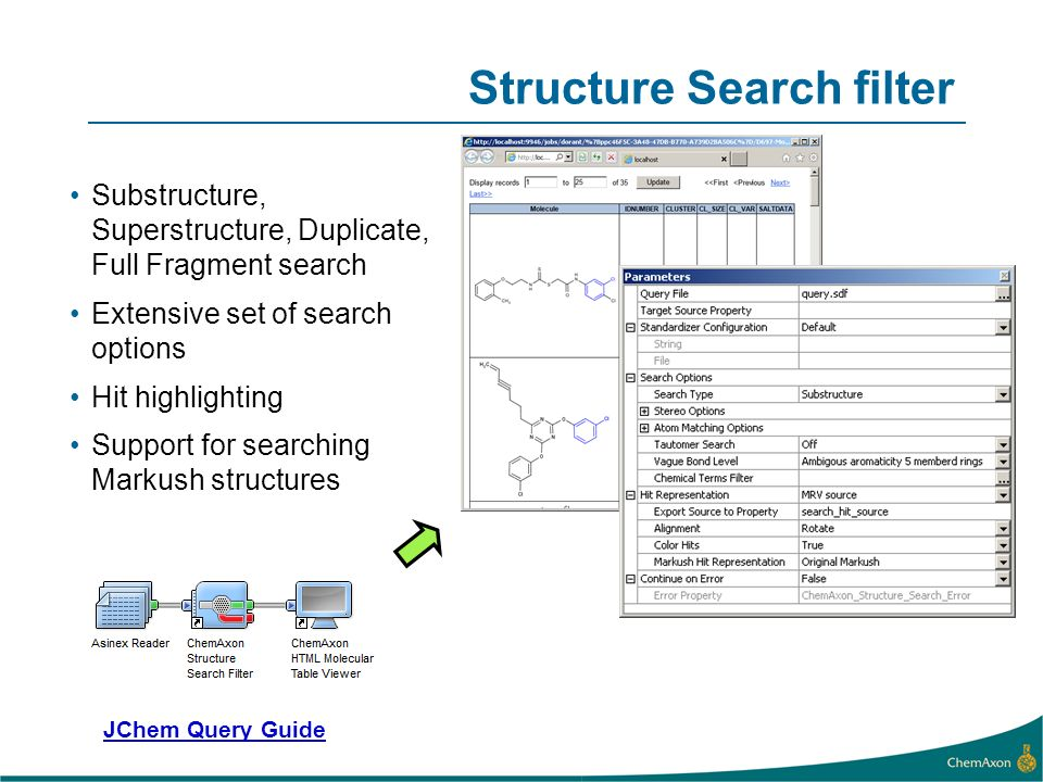 Structure Search filter Substructure, Superstructure, Duplicate, Full Fragment search Extensive set of search options Hit highlighting Support for searching Markush structures JChem Query Guide