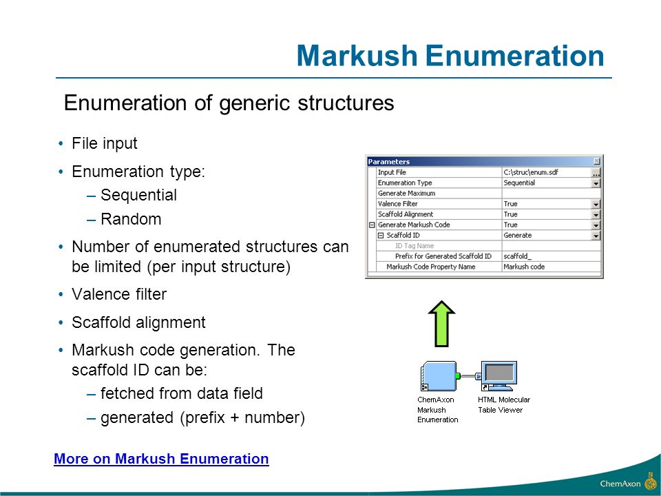 File input Enumeration type: –Sequential –Random Number of enumerated structures can be limited (per input structure) Valence filter Scaffold alignment Markush code generation.