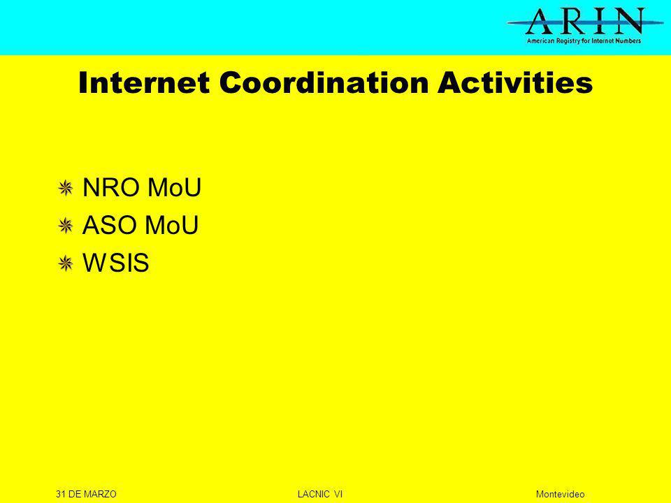 31 DE MARZOLACNIC VIMontevideo Internet Coordination Activities NRO MoU ASO MoU WSIS