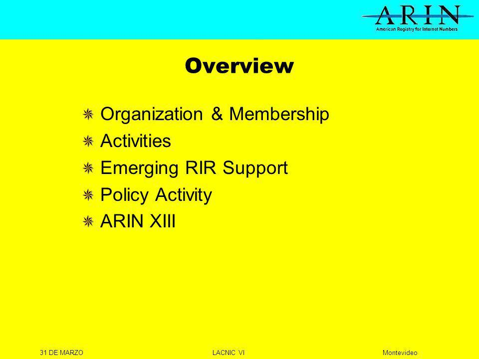 31 DE MARZOLACNIC VIMontevideo Overview Organization & Membership Activities Emerging RIR Support Policy Activity ARIN XIII