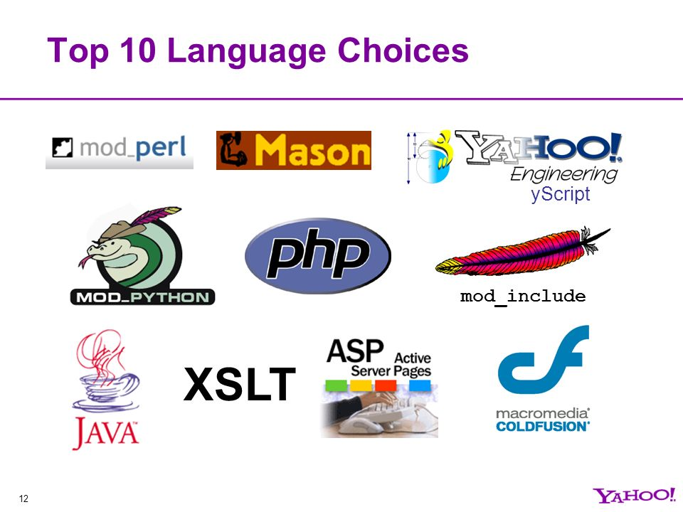 12 Top 10 Language Choices mod_include XSLT yScript