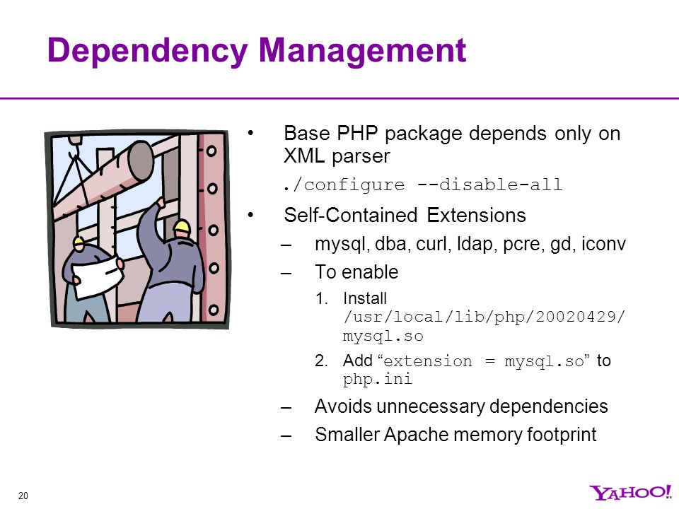 20 Dependency Management Base PHP package depends only on XML parser./configure --disable-all Self-Contained Extensions –mysql, dba, curl, ldap, pcre, gd, iconv –To enable 1.Install /usr/local/lib/php/ / mysql.so 2.Add extension = mysql.so to php.ini –Avoids unnecessary dependencies –Smaller Apache memory footprint