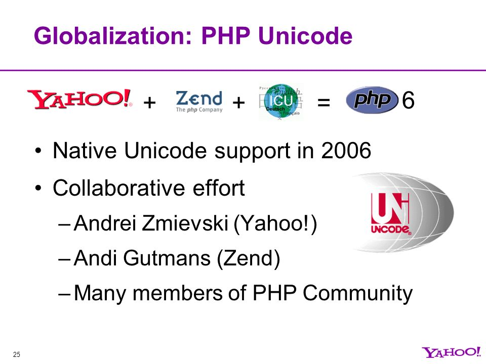 25 Globalization: PHP Unicode Native Unicode support in 2006 Collaborative effort –Andrei Zmievski (Yahoo!) –Andi Gutmans (Zend) –Many members of PHP Community ++ ICU = 6