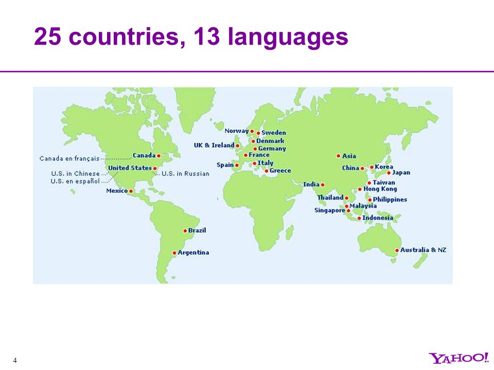 4 25 countries, 13 languages