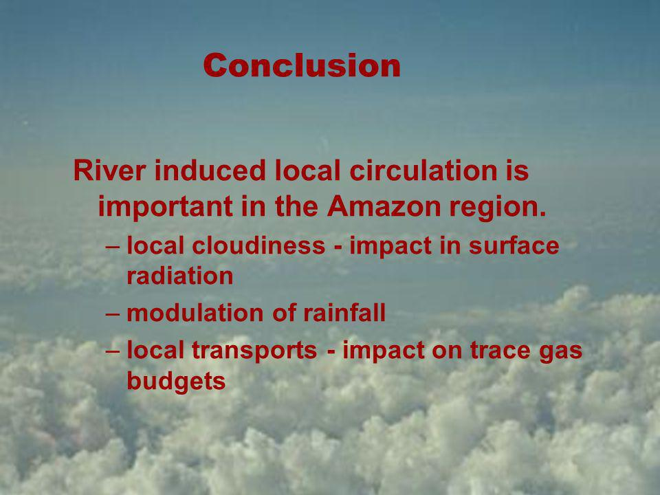 Conclusion River induced local circulation is important in the Amazon region.