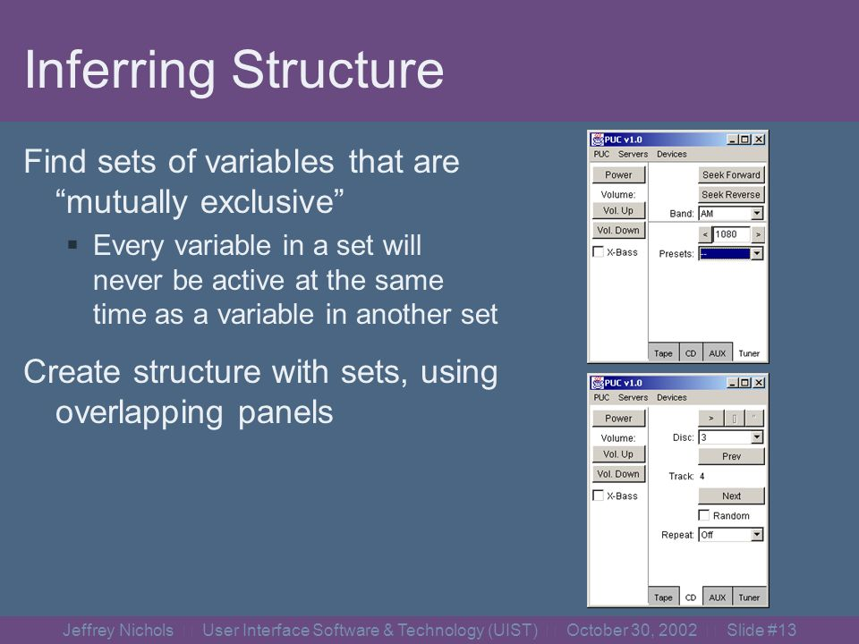 Jeffrey Nichols User Interface Software & Technology (UIST) October 30, 2002 Slide #12 Graphical Interface Generator Focuses on panel structure of user interface Small groups of controls have basic layouts Complexity comes from structure of groups Structure can be inferred from dependency info!